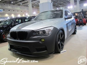 Osaka Auto Messe 2014 Car & Customize Motor Show Intex Custom BMW X1 PLACE Matte Black Silver Slammed